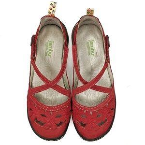 Jambu | Red Leather Blossom Encore Flats | Size 6